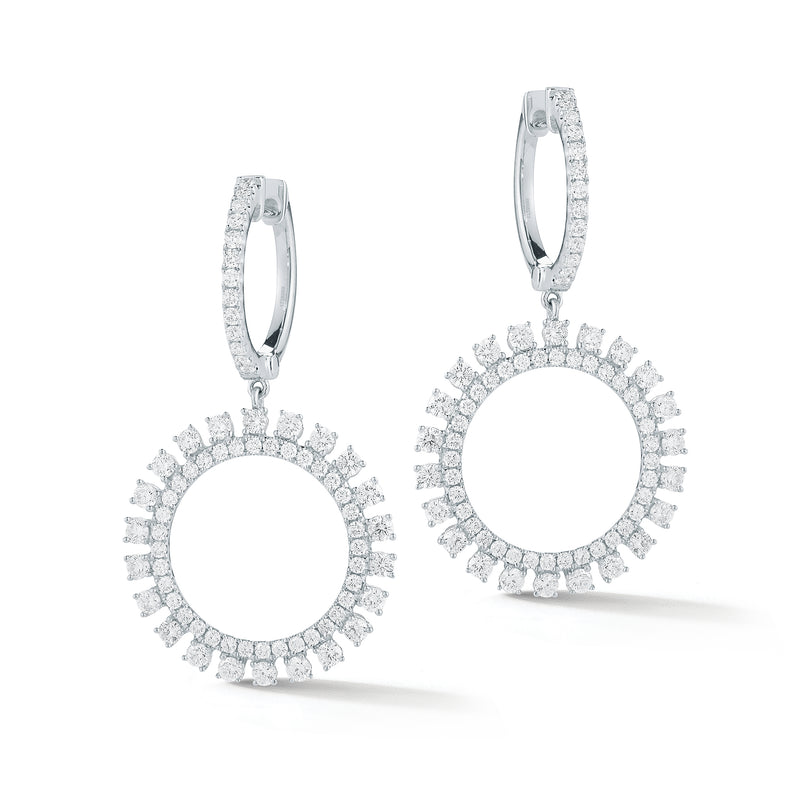 Diamond Sunburst Drop Earrings