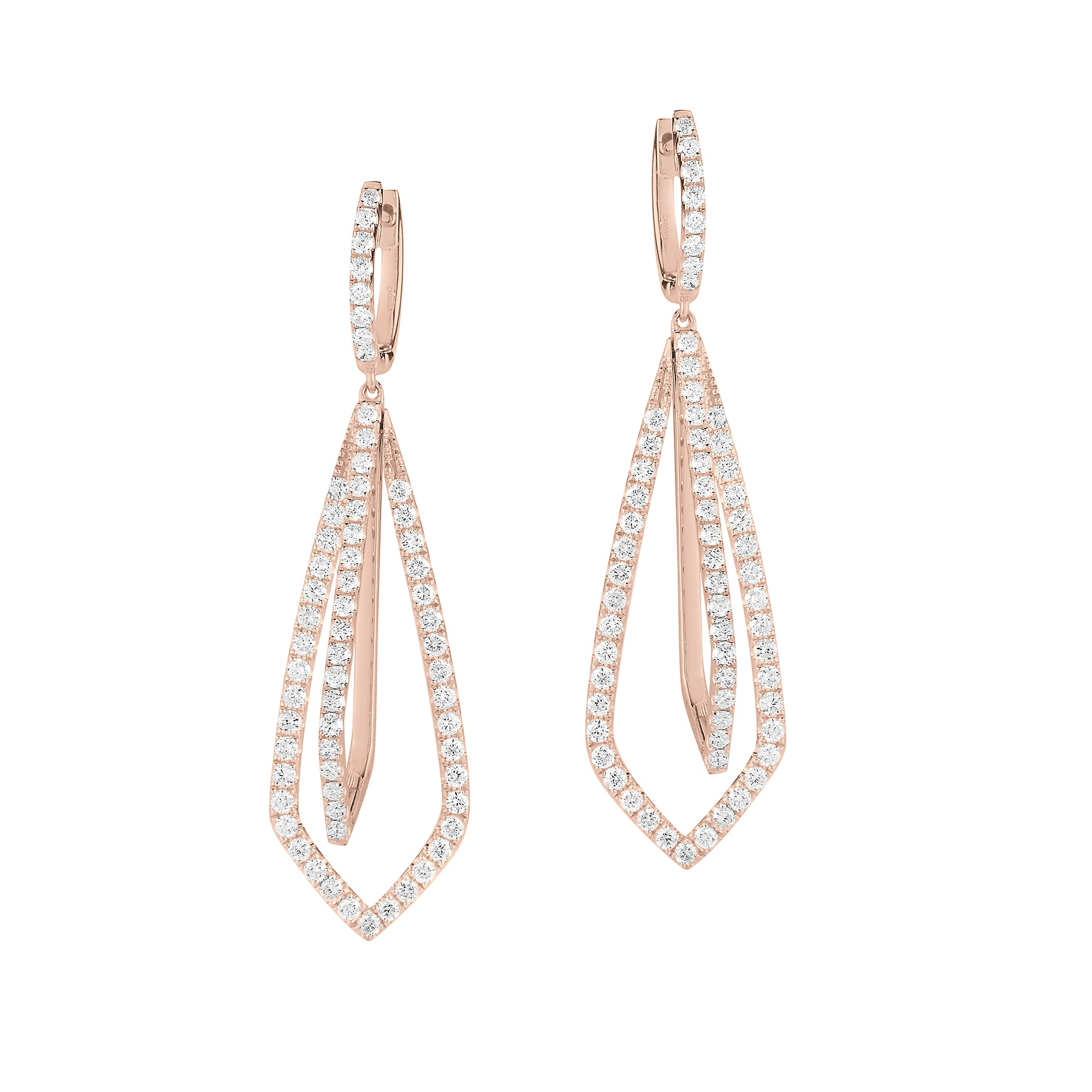 Diamond Geometric Drop Earrings