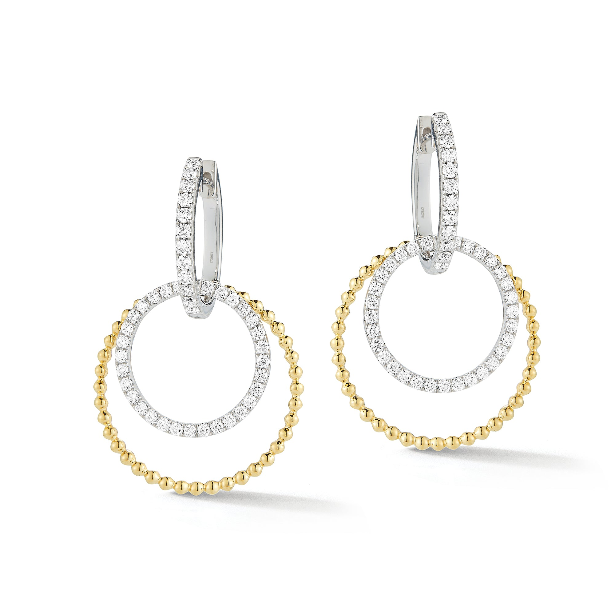 Diamond Two-Tone Double Hoop Drop Earrings