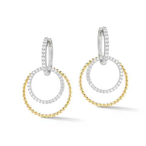 Two-tone Diamond Double Hoop Earrings