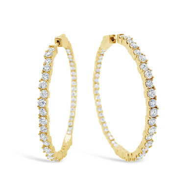 Large Diamond Scattered Hoop Earrings