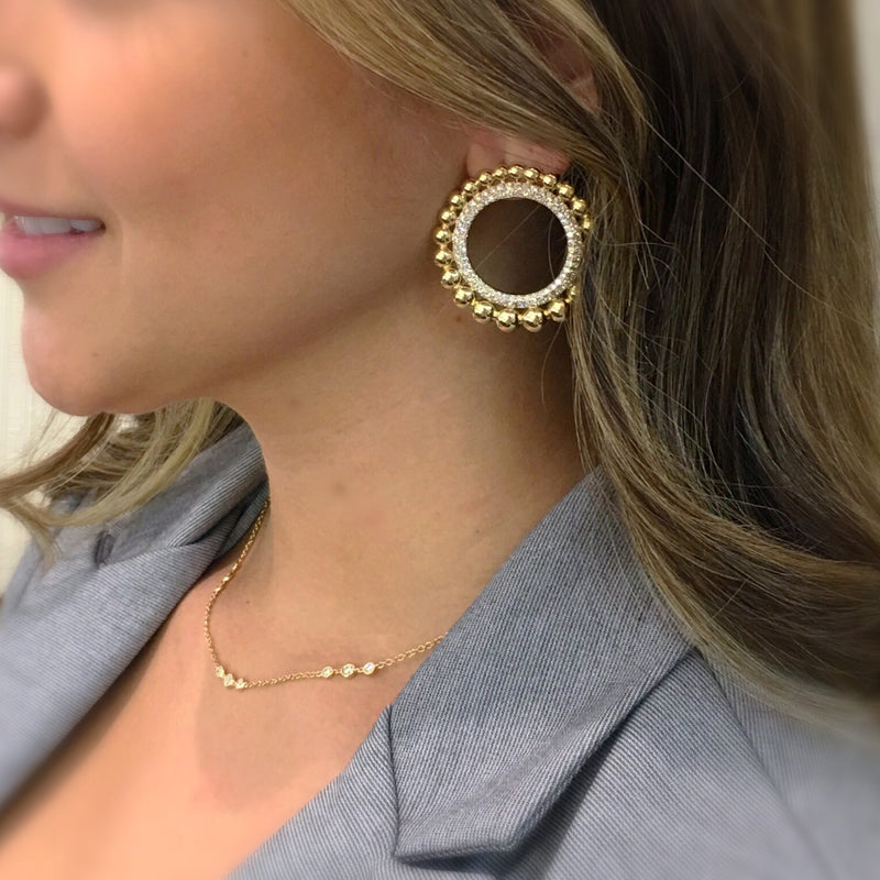 Diamond & Gold Beaded Circle Earrings