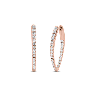 Diamond Interior Exterior Hoop Earrings