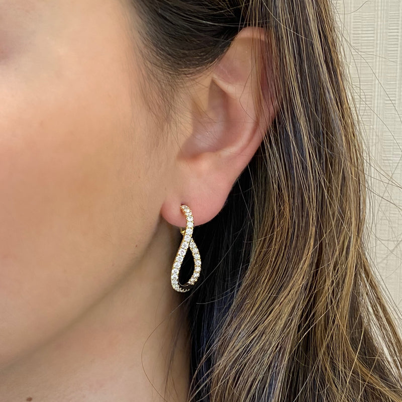 Small Diamond Twist Hoop Earrings