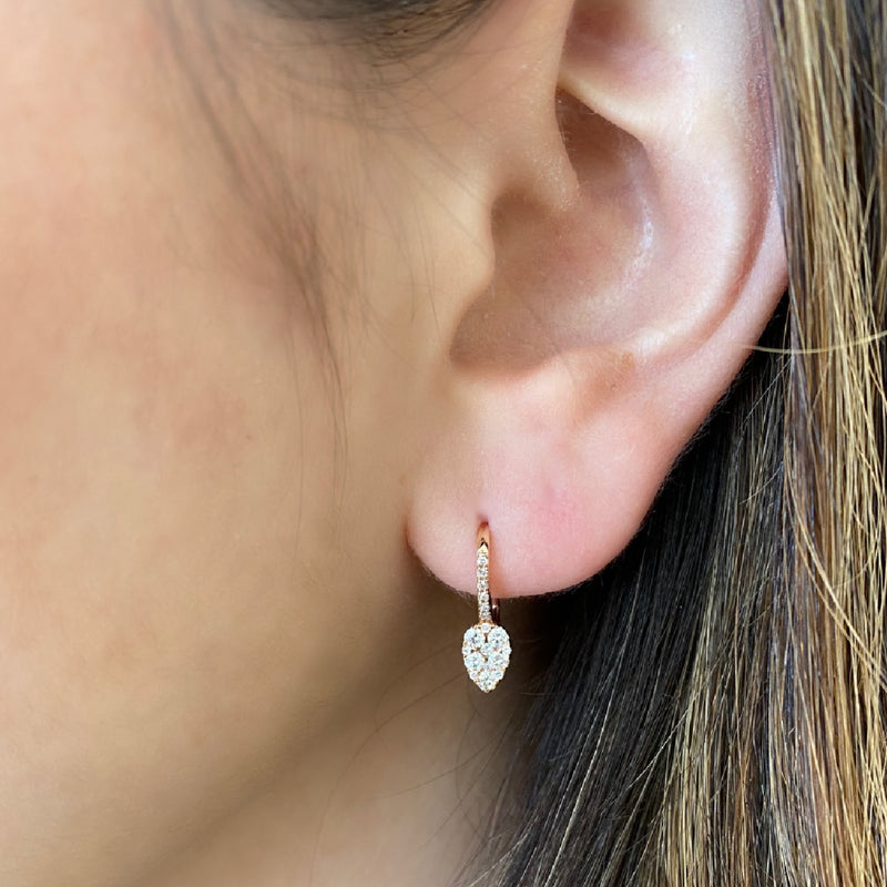 Small Diamond Pear Cluster Lever-Back Earrings