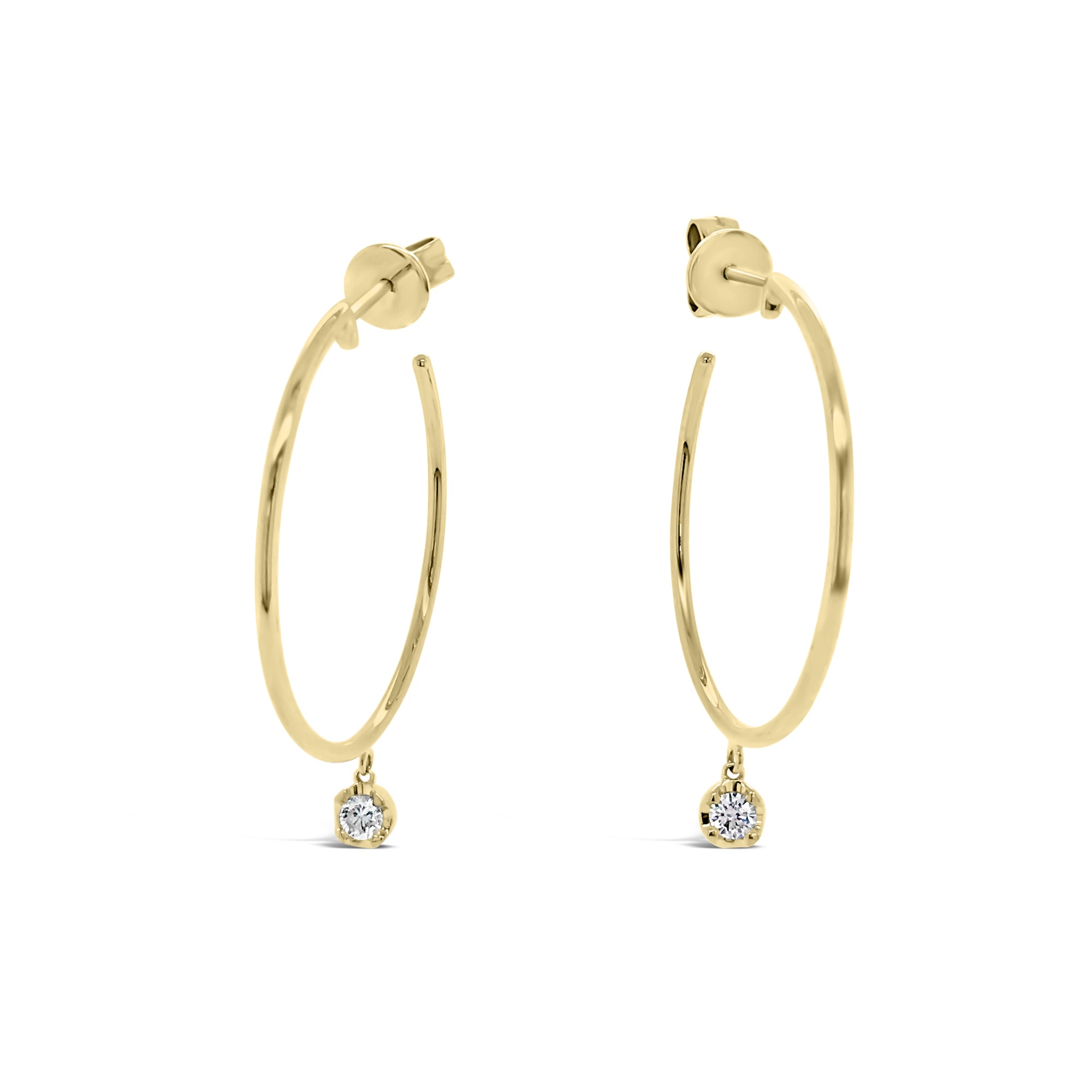 Gold Hoop Earrings with Bezel-set Diamond