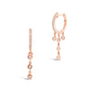 Gold Huggie Earring with Diamond 5-Bezel Drop Earrings