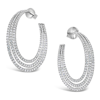 Diamond Triple Row Open Hoop Earrings