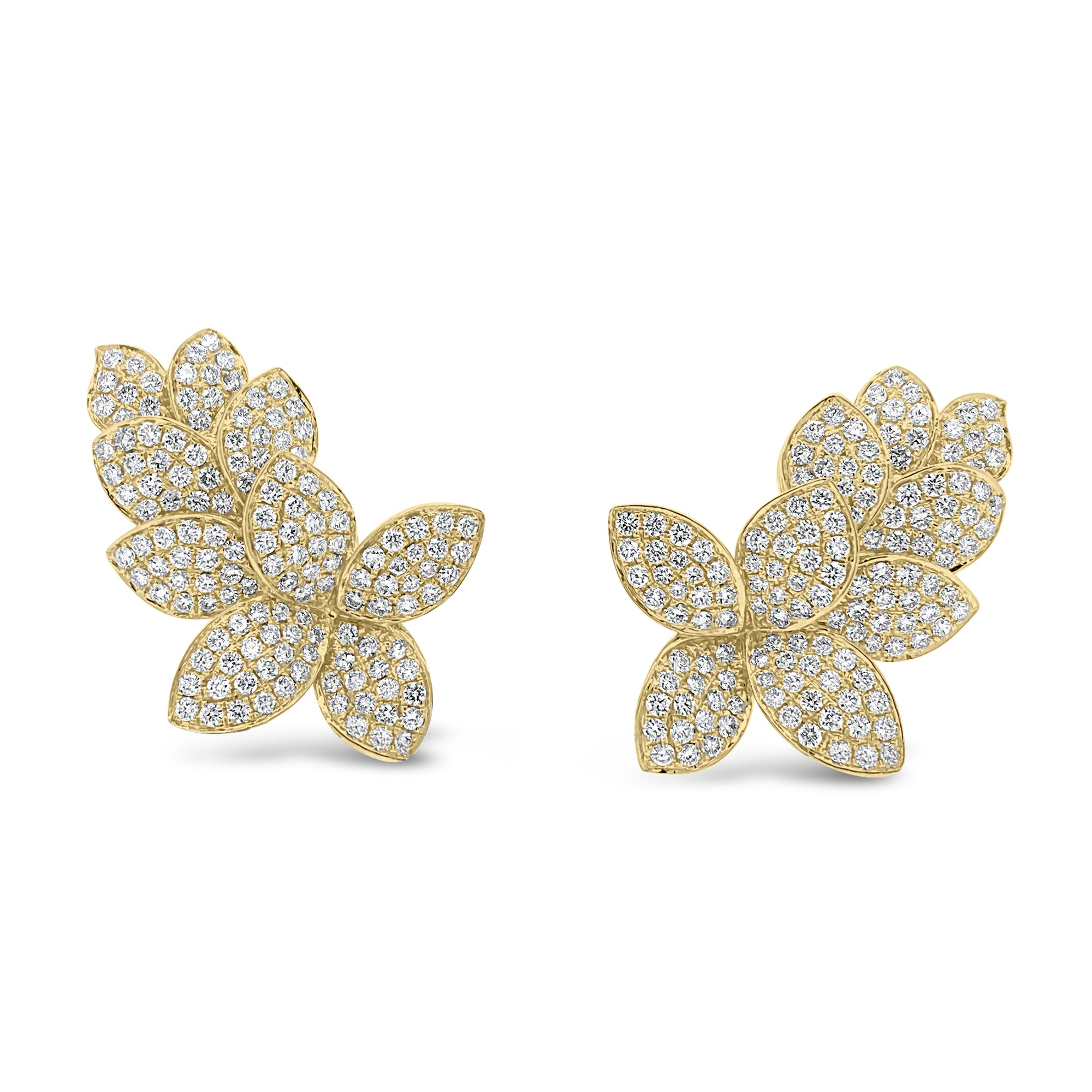 Diamond Ornate Flower Crawler Earrings