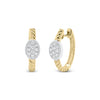 Gold Twist Hoop Earrings with Diamond Ovals