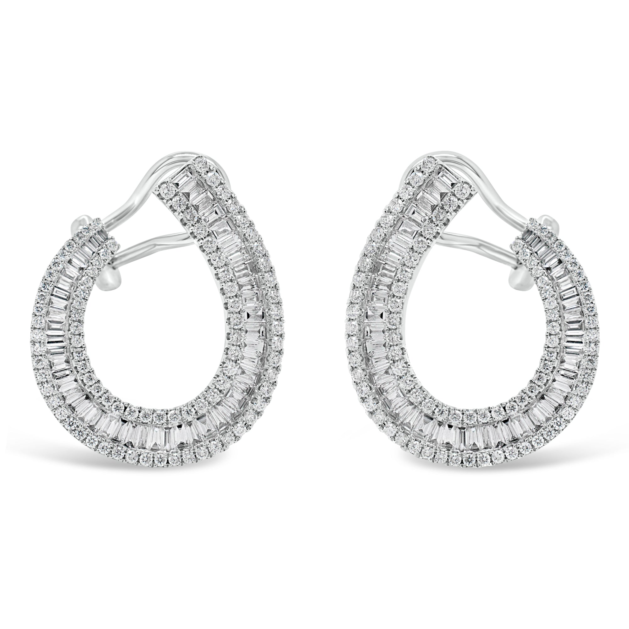 Baguette Diamond Front-Facing Hoop Earrings