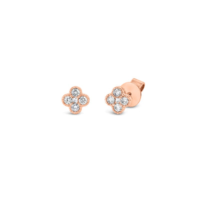 Diamond Trefoil Stud Earrings