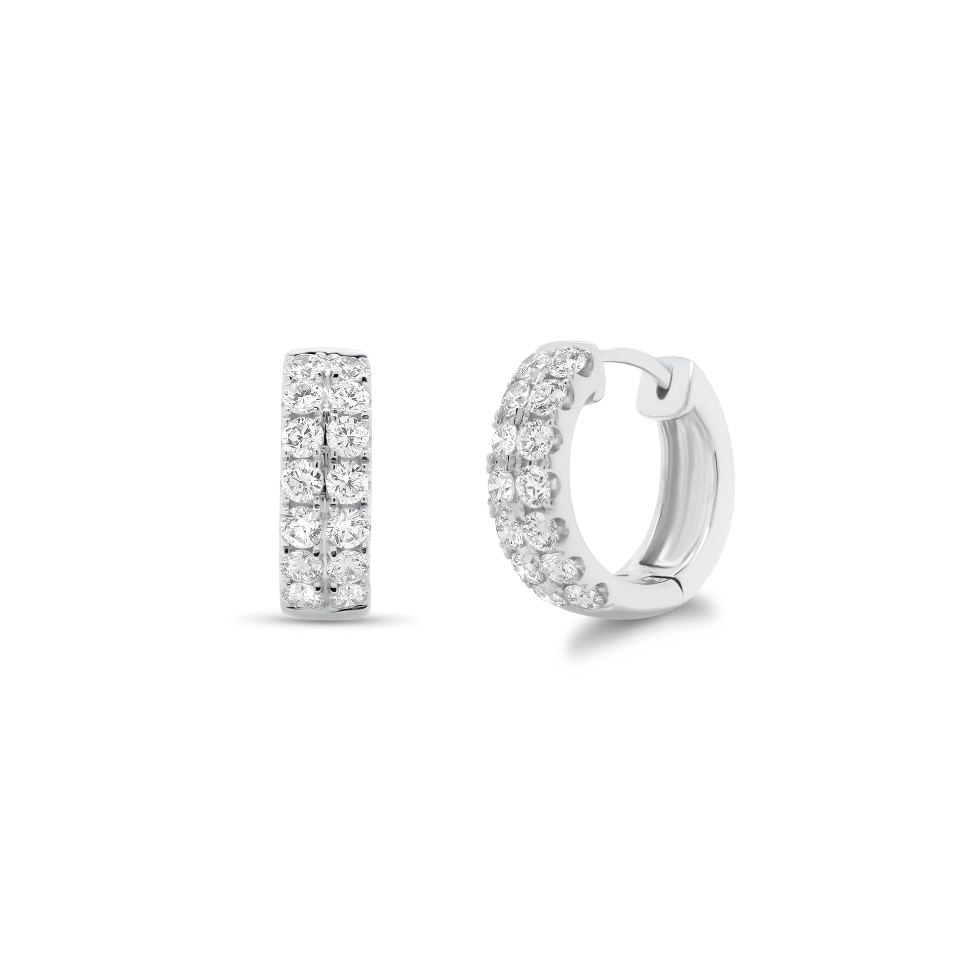 Diamond Double Row Huggie Earrings