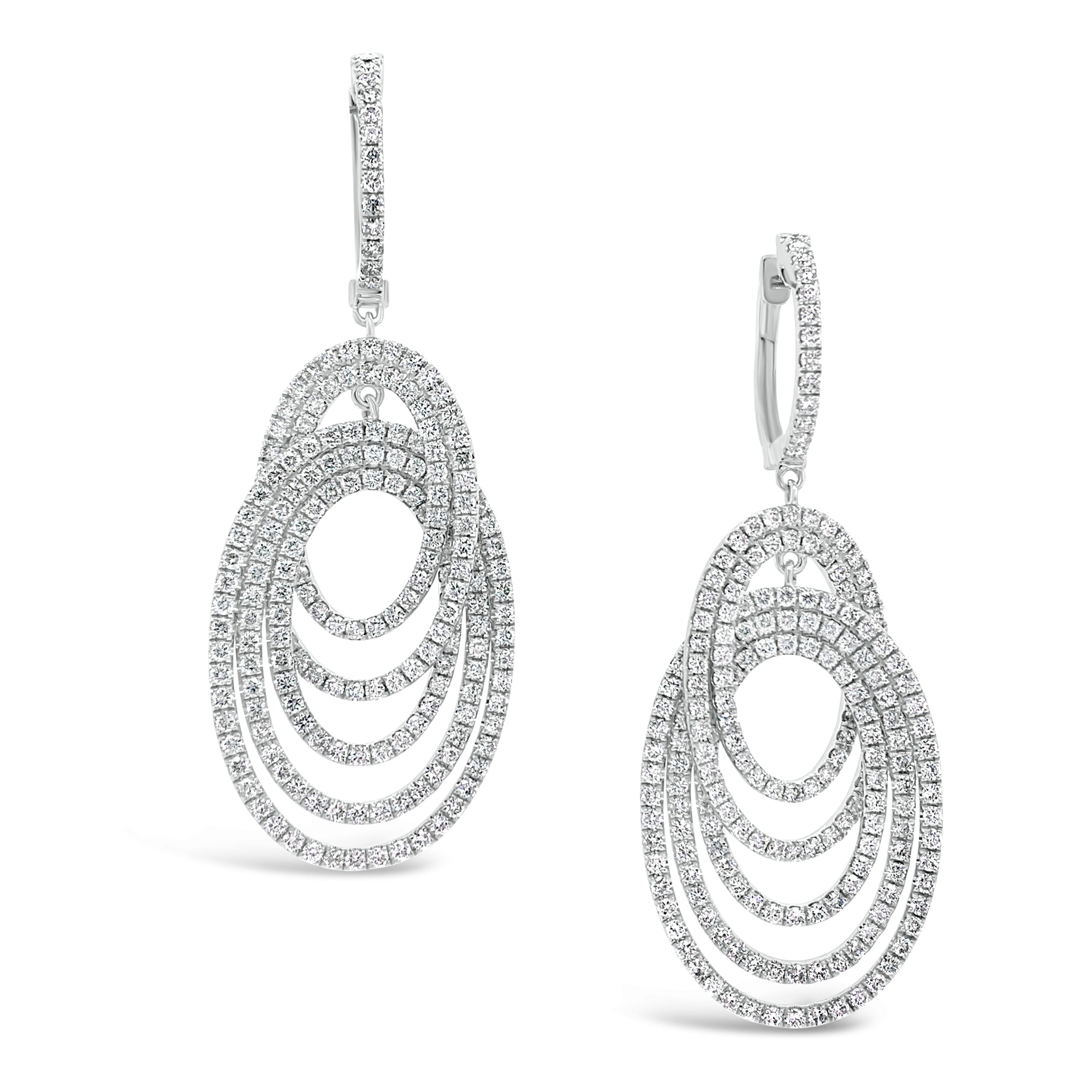 Diamond Multi-Hoop Dangle Earrings