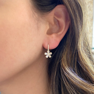 Diamond Daisy Lever-Back Earrings