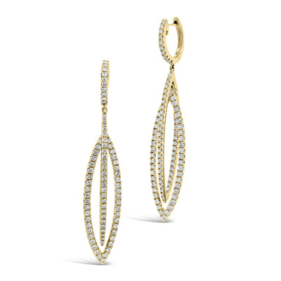 Diamond Double Marquise Drop Earrings