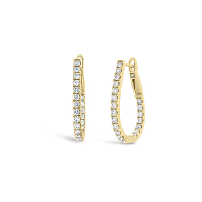 Inside-out Diamond Oval Huggie Earrings