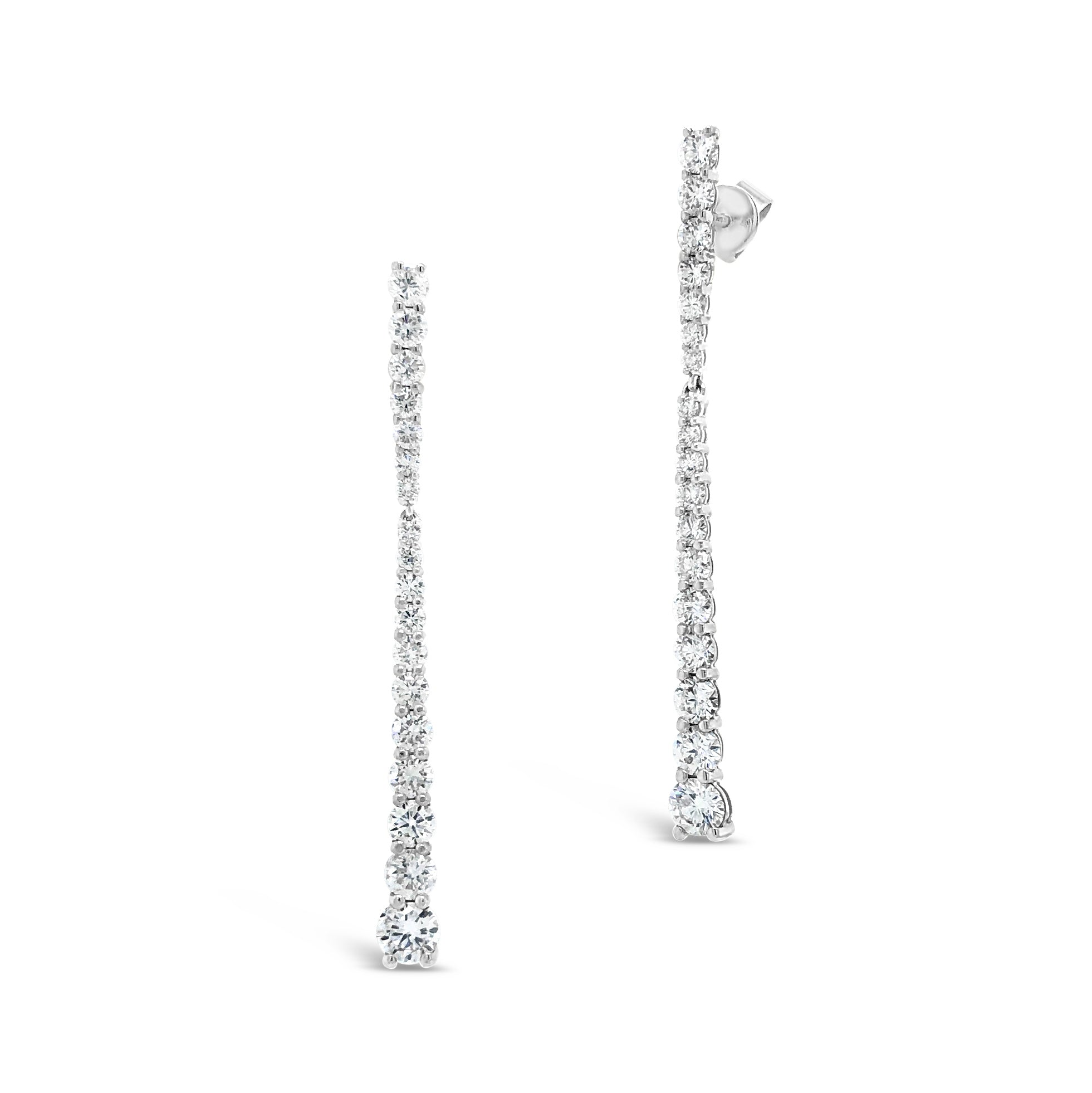 Shared Prong-Set Diamond Dangle Earrings