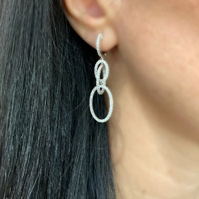 Diamond Oval Dangle Earrings