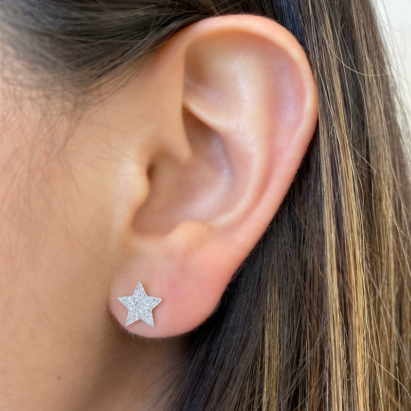 Pave Diamond Star Stud Earrings