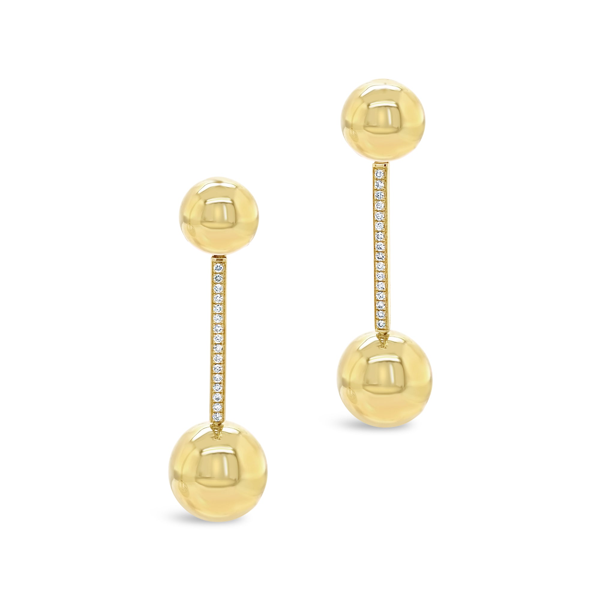Gold Ball Drop Earrings with Diamonds