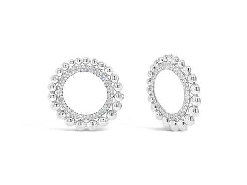 Diamond & Gold Bead Circle Earrings