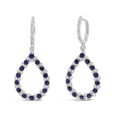 Sapphire & Diamond Teardrop Dangle Earrings