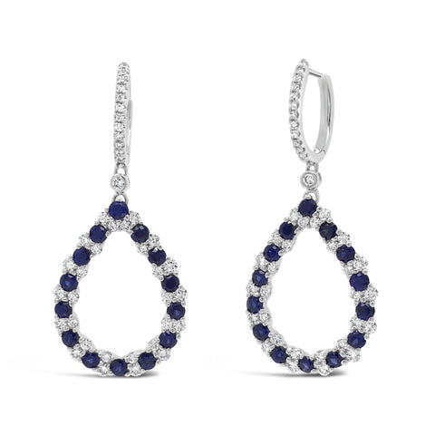 Blue Sapphire Diamond Drop Earrings