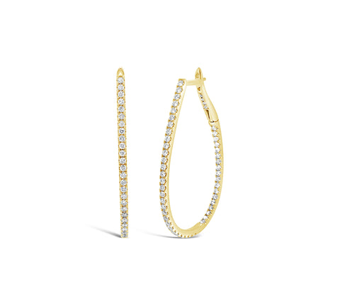 Oval Diamond Inside/Out Hoop Earrings