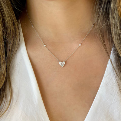 Diamond Heart Solitaire Necklace with Diamond Stations
