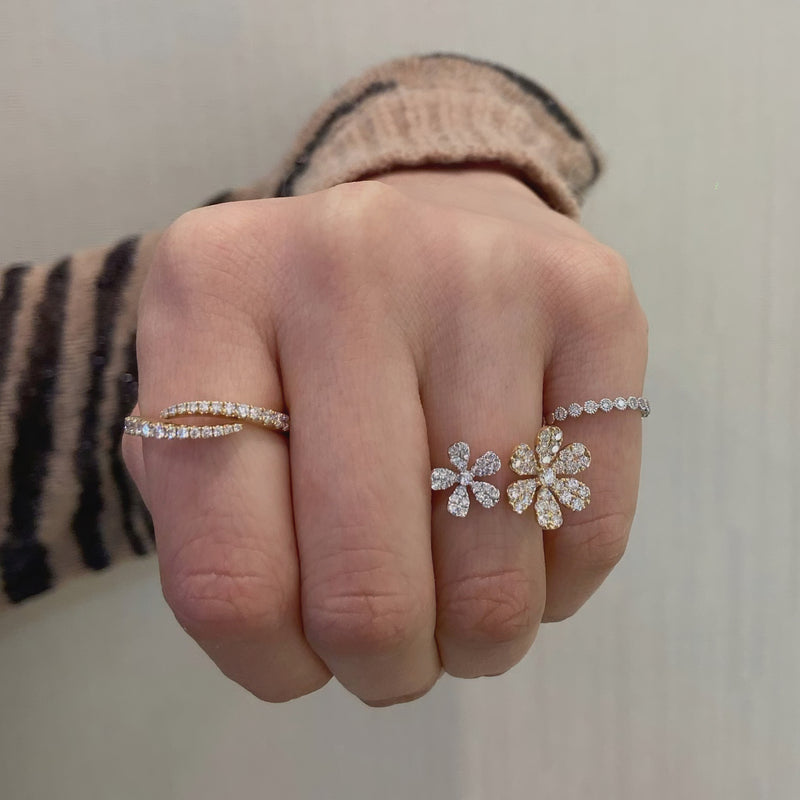 Diamond Flower Double Finger Ring
