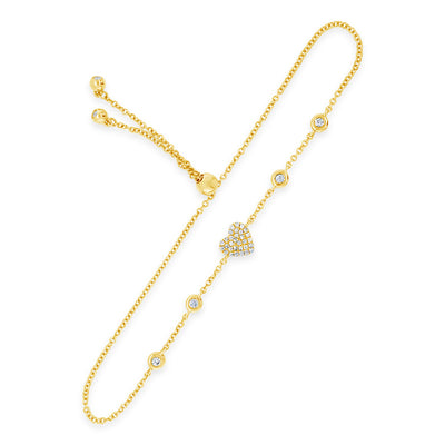 Diamond Adjustable Heart Bracelet