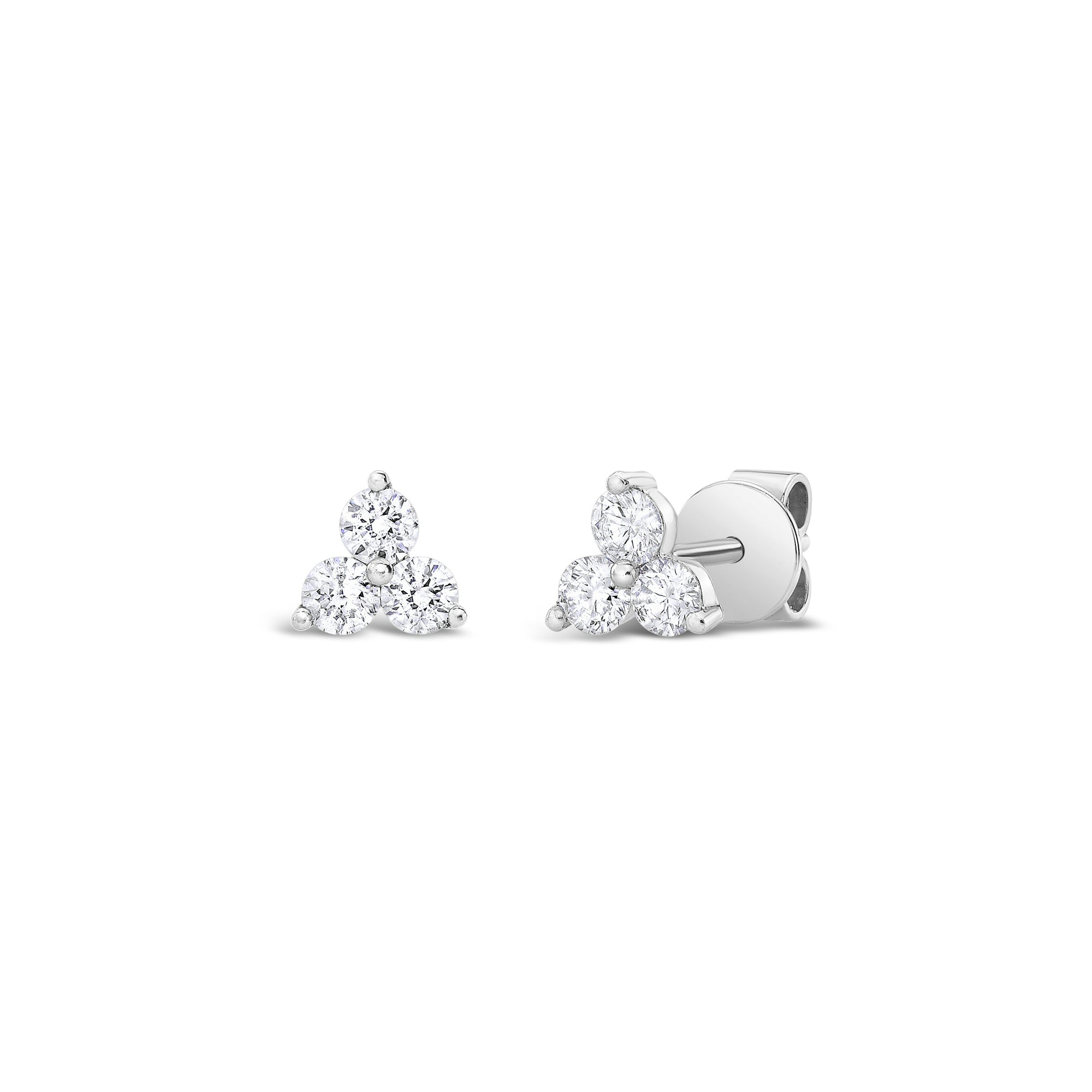 Diamond Three Stone Stud Earrings