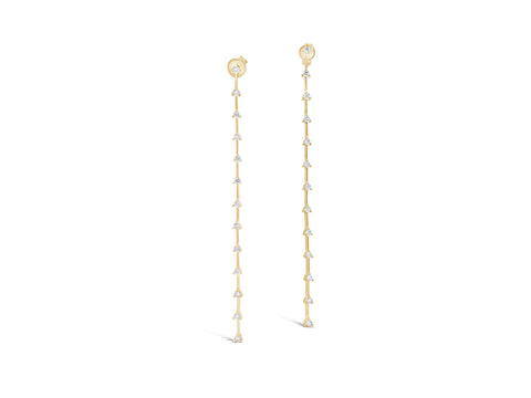 Simple Linear Diamond Dangle Earrings