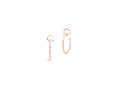 Circular Diamond Push-back Hoops Earrings