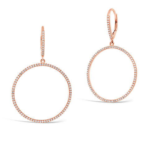 Circle Diamond Cocktail Drop Earrings