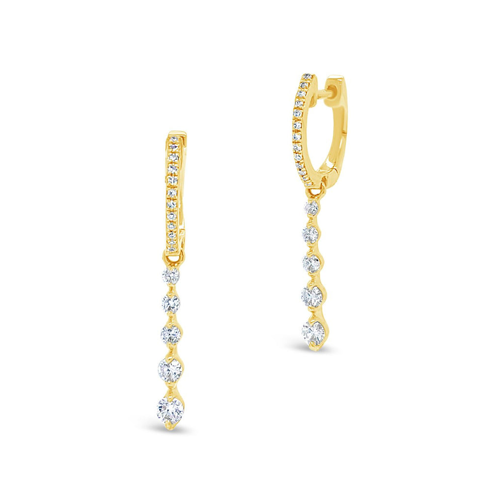 Gold Huggie Earring with Prong-set Diamond Drop Earrings