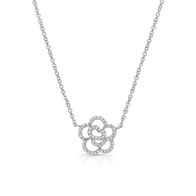Diamond Flower Outline Pendant Necklace