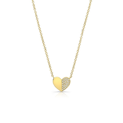Half-Diamond Heart Pendant Necklace