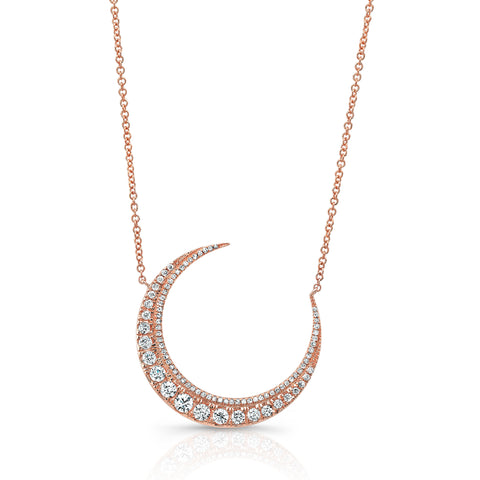 Large Diamond Moon Necklace Pendant Necklace