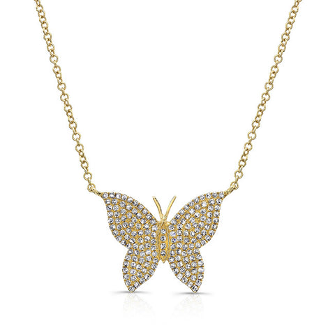 Full Diamond Butterfly Pendant Necklace