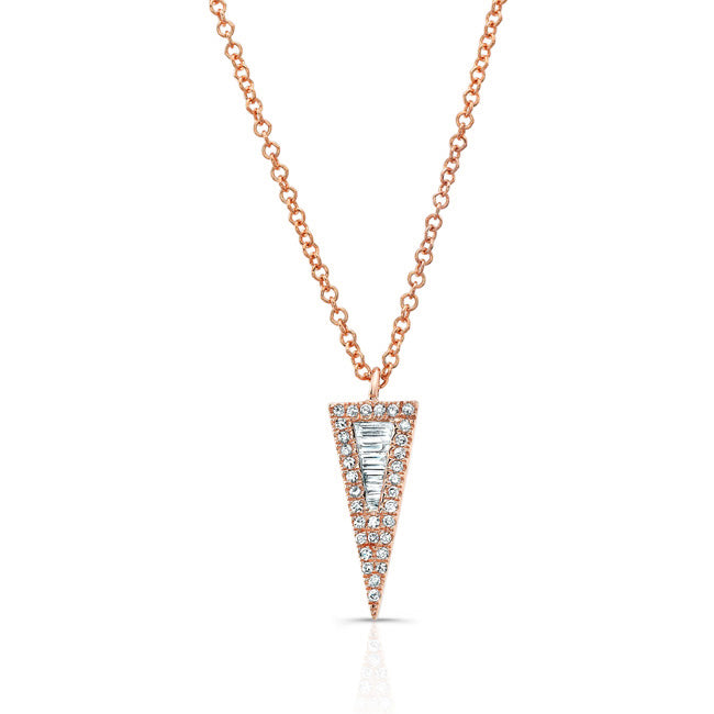 Baguette Diamond Spike Pendant Necklace