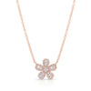 Diamond Baguette Flower Pendant Necklace