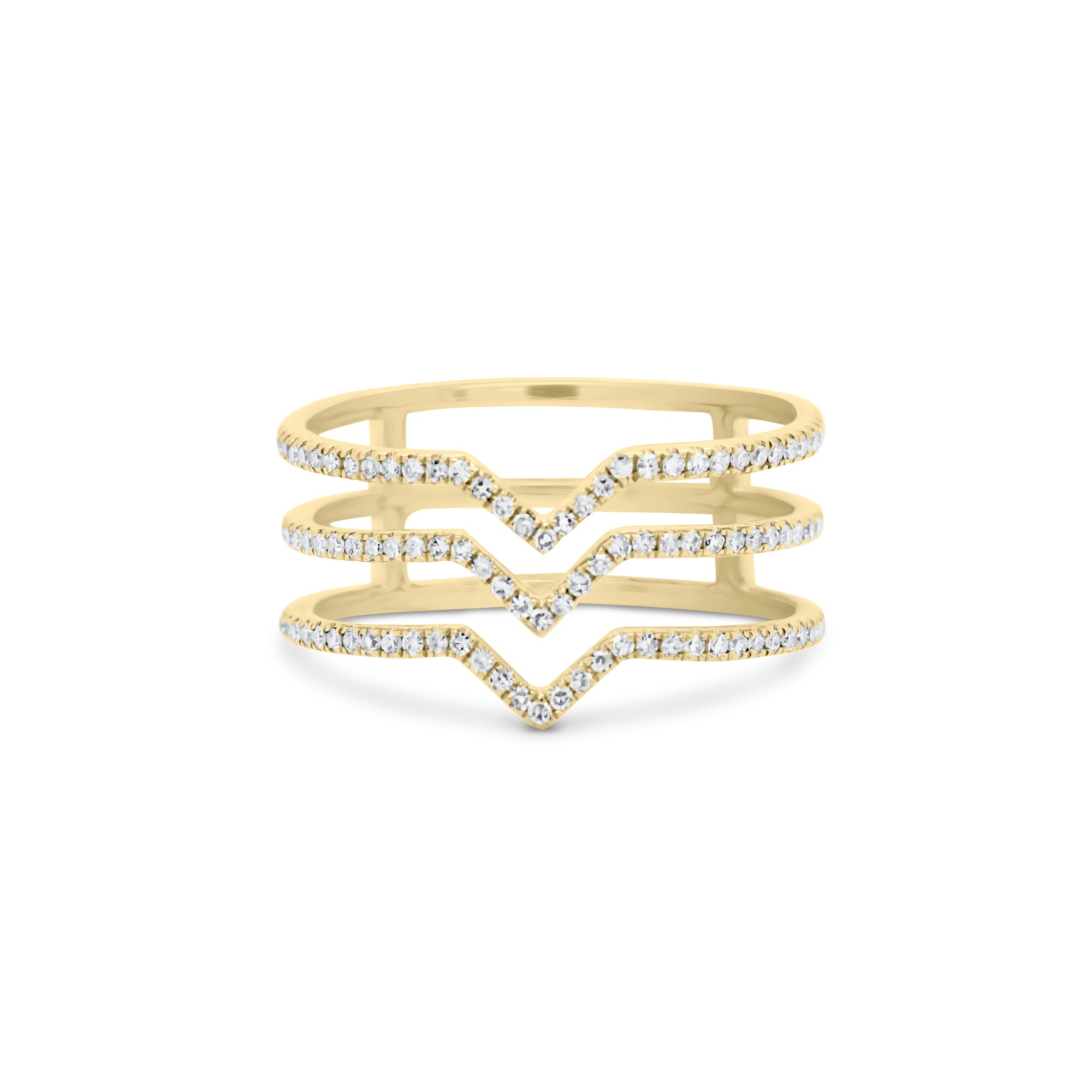 Diamond Triple Band Point Ring