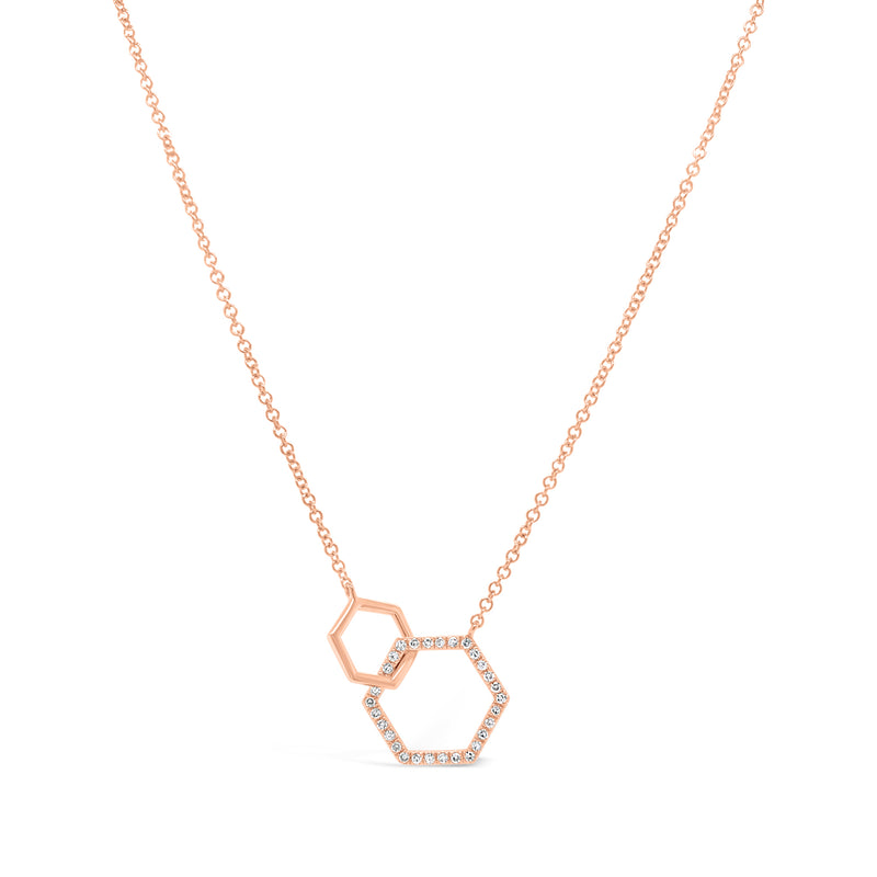 Diamond Double Hexagon Pendant Necklace