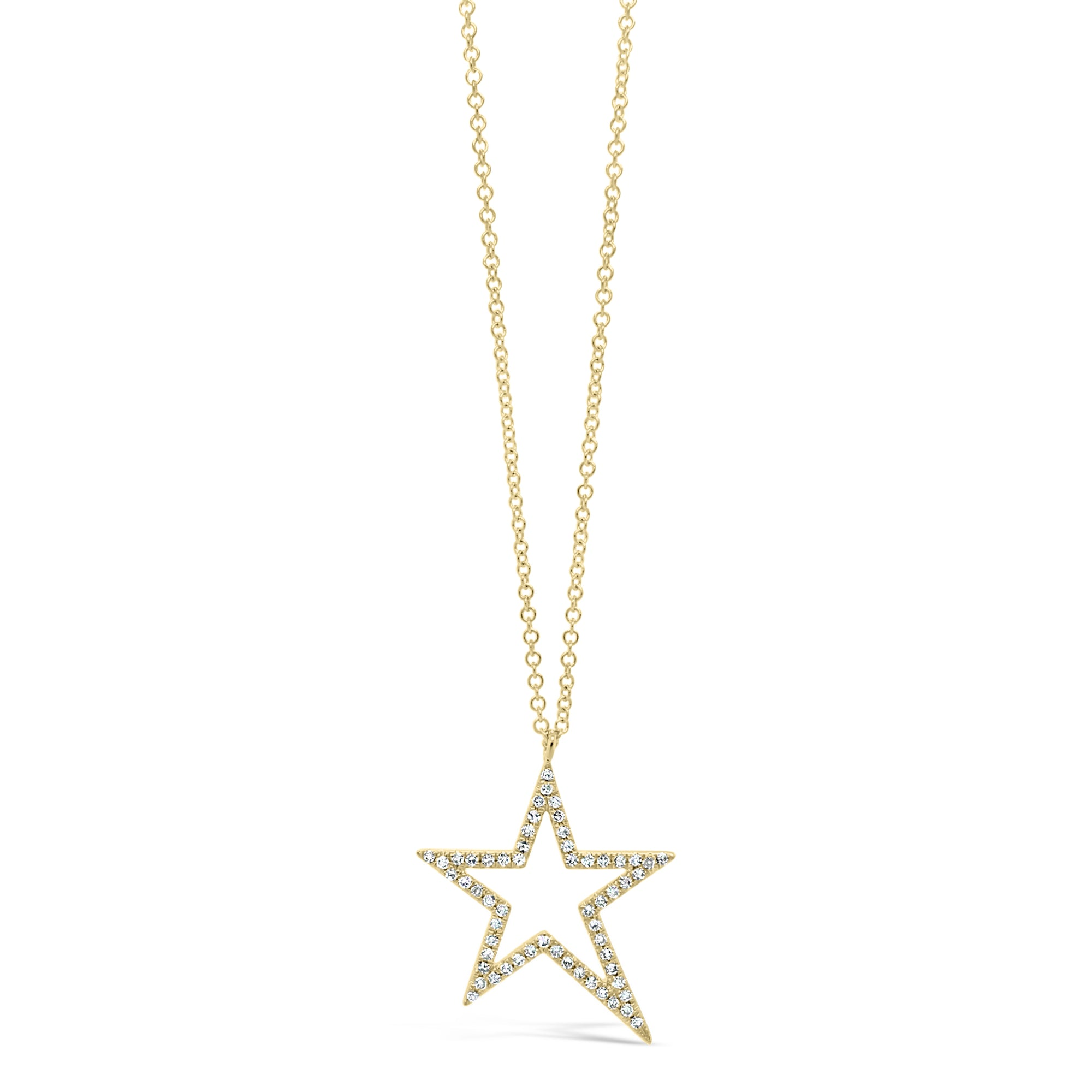 Diamond Asymmetrical Star Pendant Necklace