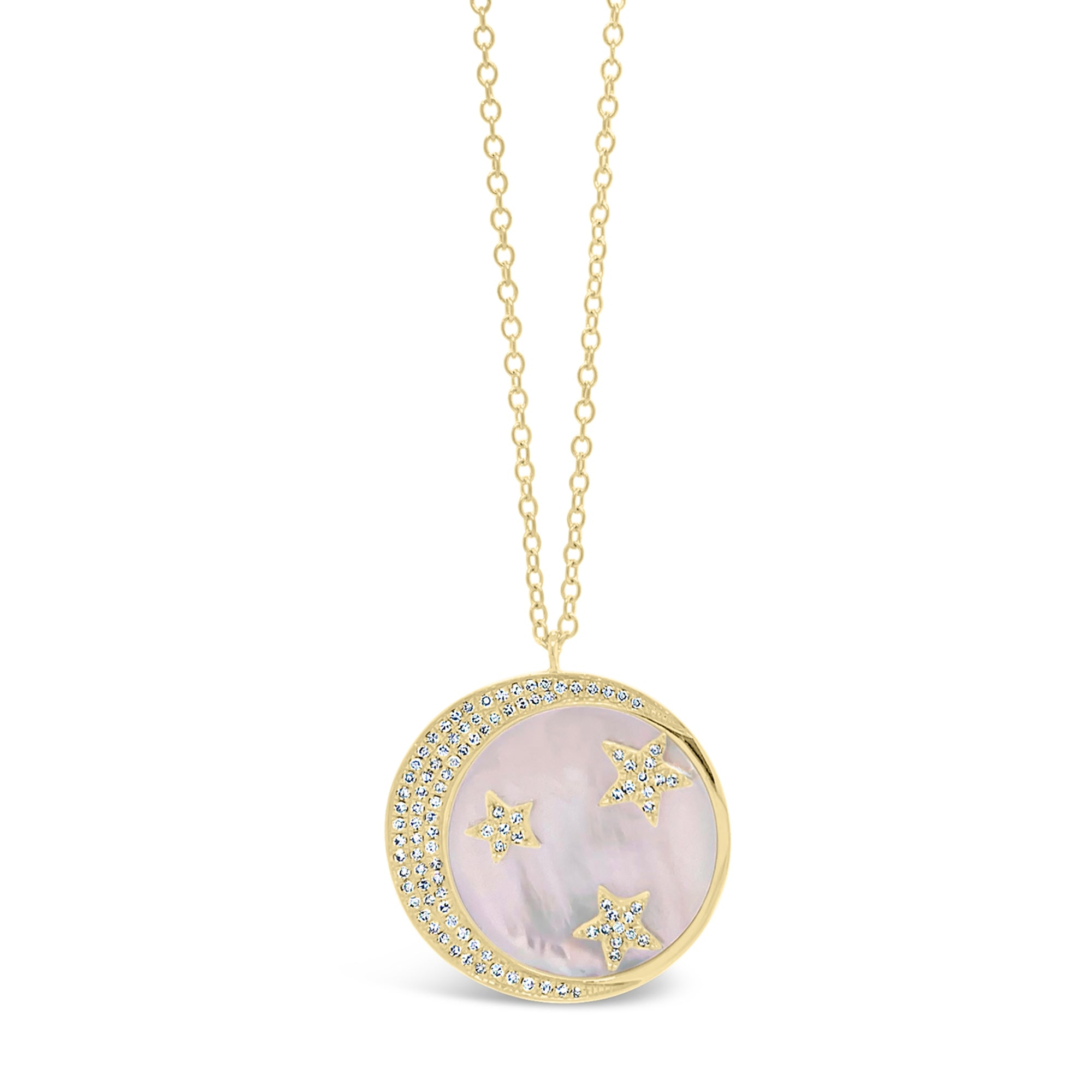 Pink Mother of Pearl Pendant with Diamond Moon & Stars