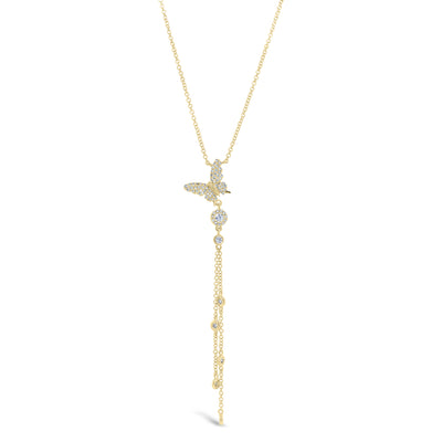 Diamond Butterfly Lariat Necklace