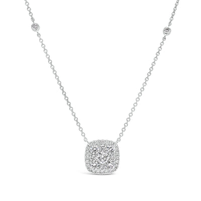 Diamond Cushion Pendant Necklace