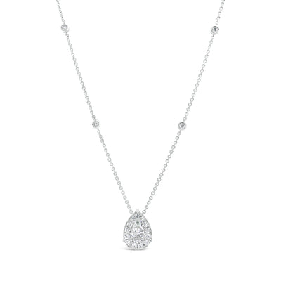 Diamond Pear Shape Necklace with Halo